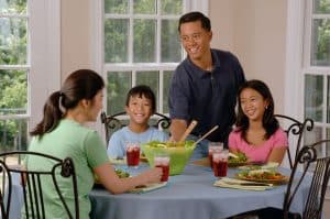 family eating healthy meal