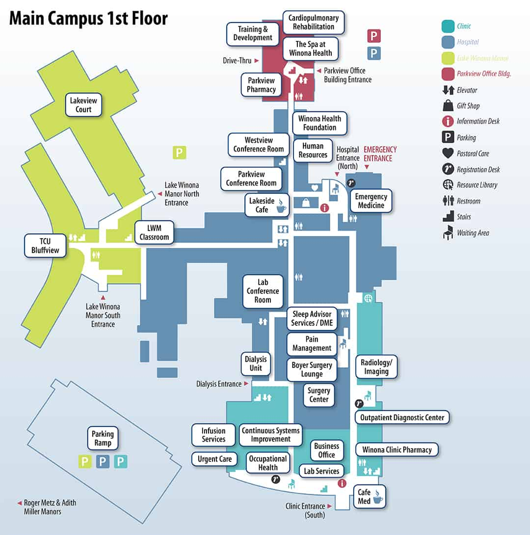 Winona Health campus map, first floor
