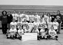 Cochrane Fountain City Lady Pirates volleyball team raised $1,286 for the Winona Health Foundation to support Mammography services in Winona Health's Women's Imaging Department.