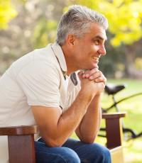 senior man relaxing at the park