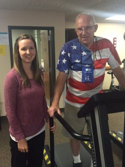 Orlin Brommer with cardiac rehabilitation specialist Kindra Huggevik in the Healthy Living Center at Winona Health.